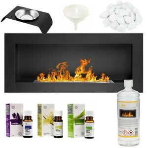 BIO ETHANOL FIREPLACE WALL MOUNTED 900x400 ECO FIRE BURNER BLACK + ACCESSORIES