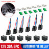 6 Pack 30A Fuse Relay Switch Harness Set 12V DC 4Pin SPST Automotive Relays