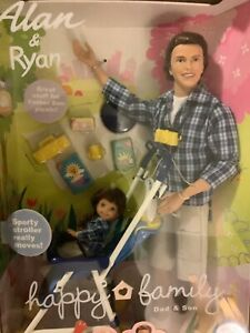 Mattel Alan & Ryan Happy Family Barbie Doll Dad and Son Stroller 2002 New!