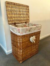 Large Walnut Honey Brown Wicker Laundry Basket Storage Box Lining Lid handles