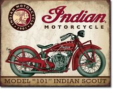 Indian Scout Motorcycle Model 101 Ad Harley Garage Wall Decor Metal Tin Sign New