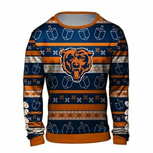 Forever Collectibles NFL Men's Chicago Bears Hanukkah Ugly Crew Neck Sweater