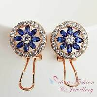18K Rose Gold GP Made With Swarovski Crystal Round Flower French Clip Earrings