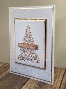 Stampin' Up Christmas Card Kit- Snow Swirled, Rose Gold Glitter, Tree, Snowflake