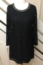 Uttam Boutique Black Long Sleeve Lace Shift Dress Jewel Neck Line Size 12 UK