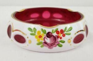"""Bohemian Art Glass Czech White Cut To Cranberry Enamel Glass Ashtray 4.5"""" Across"""