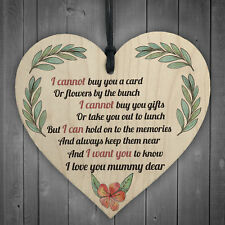 Mum Memorial Wooden Hanging Heart Sign Mothers Day Gifts Plaque Love Grave Tree