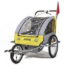 Remolque bicicleta niños 2 plazas plegable homologado carrito amarillo-FITFIU