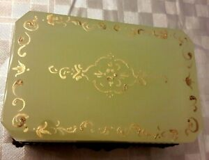 Antique  French Royal bright yellow opaline box Gold enameled . Rare