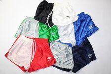 "Vintage 90s New UMBRO Mens 2"" Shiny Nylon Color Block Soccer Running Gym Shorts"