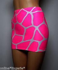 Mini Skirt Safari Neon Pink White Giraffe Animal Print Party Bodycon Club S141