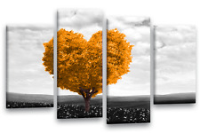 LOVE TREE Floral Art Picture Orange White Grey Landscape Abstract Wall Canvas