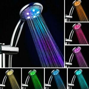 LED Duschkopf Handbrause Kopfbrause Automatic 7 Farbe Licht mit 1,5m Schlauch