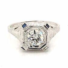 20 K White Gold Antique Art Deco Diamond Engagement Ring  .60ct Gia Certificate