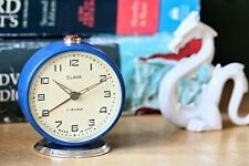 Desk Clock Working Blue Mechanical Vintage Alarm Clock Soviet Clock Slava