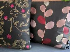 Embroidered Cushion Black Floral Vine Floral Pink Gold Decorative Sofa Bed Throw