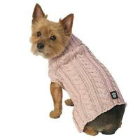 "NEW Pink ""Marley's"" Turtleneck Cableknit Dog Pet Sweater Dog Clothes (Pick Size)"