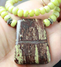 RARE GREEN BROWN OREGON AGATIZED PETRIFIED WOOD STERLING SILVER NECKLACE