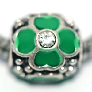 1X Flower Green Bead Charm Silver Fit Eupropean Chain Bracelet Making Jewelry