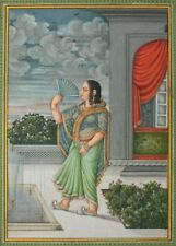 Courtesan fans herself on Terrace, Lucknow, circa 1850 Classic Indian Art Poster