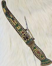 Russian Enamel Brass Cloisonne Knife Dagger Byzantine Eagle & Peacock Ornate