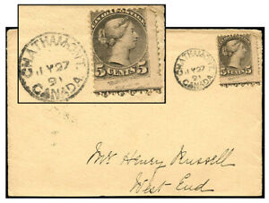 CANADA 5¢ SMALL QUEEN BOTTOM IMPRINT FRONT ONLY JUL 1891