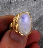 Rainbow Moonstone Gemstone Ring in 14kt Rolled Gold   Wire Wrapped size 5 to 15