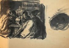 ANTIQUE EXPRESSIONIST PORTRAIT INK PAINTING MEN IN TAVERN