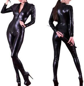Ladies Sexy Faux Leather Wet Look Lycra Jumpsuit Cat Women Catsuit Outfit