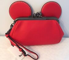 Coach X Disney Mickey Mouse Smooth RED Leather Kisslock Wristlet Clutch 65794