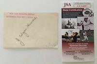 J. Edgar Hoover Signed Autographed 3 x 4.5 Slip JSA Certified FBI