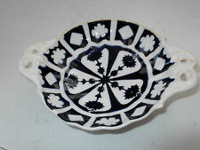 SMALL FOOTED TWIN - HANDLED  DARK BLUE AND WHITE PIN TRAY    NO MAKERS MARKS