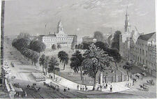 New York CITY HALL PARK Mayor Office ~ 1846 Antique Art Print Engraving RARE!!
