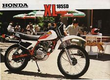 1983 HONDA XL185SD TRAIL BIKE 2 page Motorcycle Sales Brochure NCS