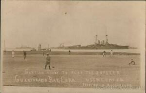 RPPC Guantanamo Baseball Team,USS Wyoming Navy Real Photo Post Card Vintage