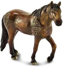 Bejeweled Crystal Enameled Brown Horse Trinket Box