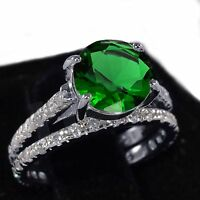 White Gold Emerald Green Wedding Engagement Eternity Sterling Silver Ring Set