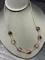 """Vintage Burgundy Clear Cracked Glass Marble Crystal Necklace  18"""""""