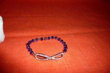 Diamond Looking Stoned Infinity Blue Small Beads Stretch Elastic Bracelet NWOT