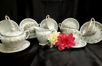 Sheffield Fine China Japan Classic 501 Teacups & Saucers / Sugar / Creamer Set