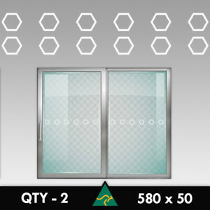 Hexagon Safety Glass Stickers 580mm Protection Hazard Sliding Door Window Decal