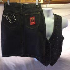 JouJou Size Med Black Denim Vest & Skirt Set Metal Rodeo Cowgirl Country Western