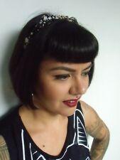 Serre tête fin semi rigide noeud tissu noir fleurs liberty coiffure rétro pinup