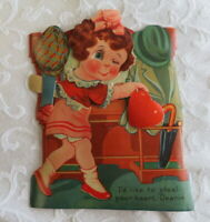 Vintage Valentine, Lady in Red Who Winks, Mechanical