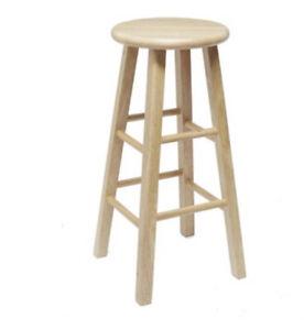 "29"" Natural Tan Wood Bar Stool Tall Chair Seat Fully Assembled 29 Inch High Top"