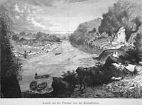 POTOMAC RIVER Falls near Georgetown & Chain Bridge - 1883 German Print