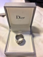Christian Dior 925 Sterling  Silver  Logo Wide Ring Band