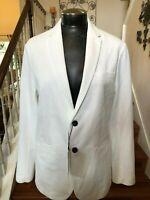 Zara Blazer Jacket White New Black Buttons Lined Career Large
