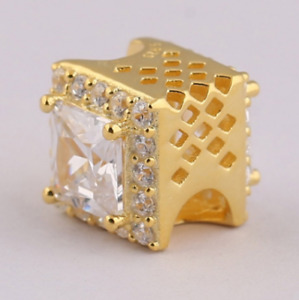 Gold Geometric Radiance Charm 925 Sterling Silver