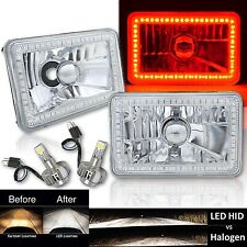 "4X6"" Red SMD Halo Glass / Metal Headlight 6000K 6K LED Light Bulb Headlamp Pair"